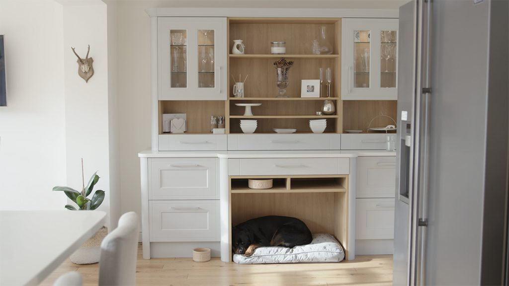 Country ermine kitchen with integrated pet storage